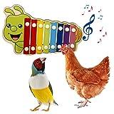 XIAOTIAN Giocattolo Xilofono di Pollo Caterpillar, per Galline Giocattolo Xilofono in Legno con 8 Chiavi in Metallo Giocattolo da Beccare per Pollaio con Mola