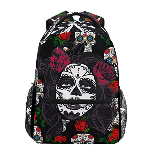 Bookbag Mexican Skull Day of Dead Bookbag Shoulder Bag Durable Stylish Printed Student School Unique Travel College Lightweight Backpack Gift Casual