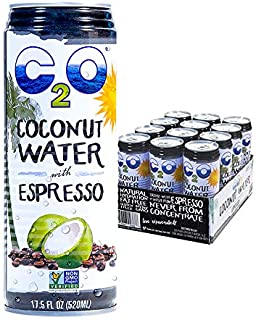 C2O Pure Coconut Water with Espresso, 17.5 FL OZ (Pack of 12)