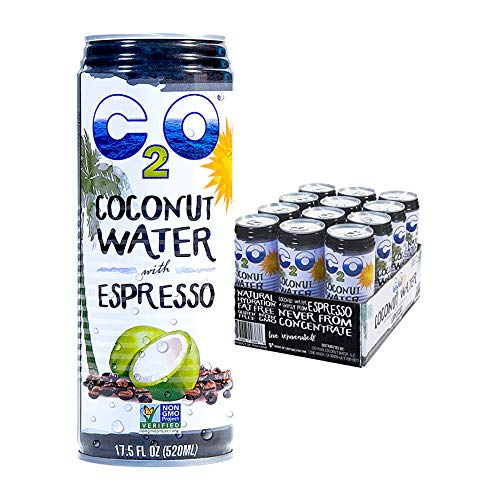 C2O Pure Coconut Water with Espresso | Plant Based | Non-GMO | Dairy Free | Essential Electrolytes | 17.5 Fl Oz (Pack of 12)