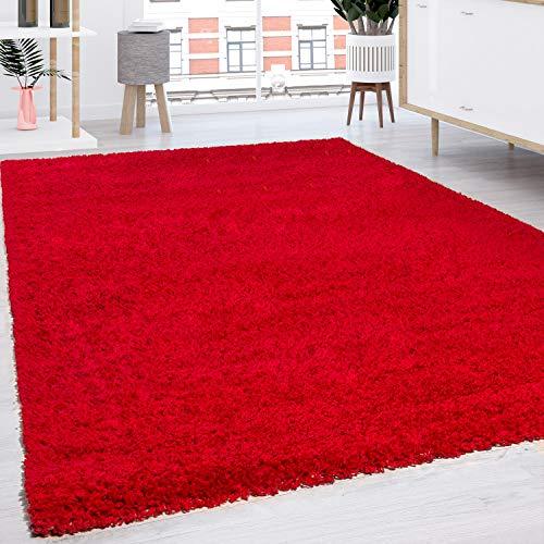Paco Home Tapis Shaggy Longues Mèches en Différentes Tailles Et Coloris, Dimension:160x220 cm, Couleur:Rouge