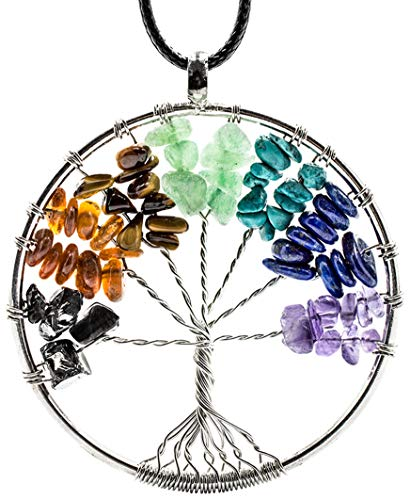 Pendant Noble Shungite Elite and Gemstones Necklace Tree of Life 7 Chakras