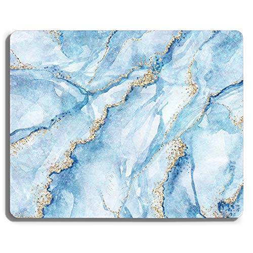 White Blue Marble Gaming Mouse Pad Custom Design,Fashion Non-Slip Rubber Square Mousepad for Gift Support Computers Laptop