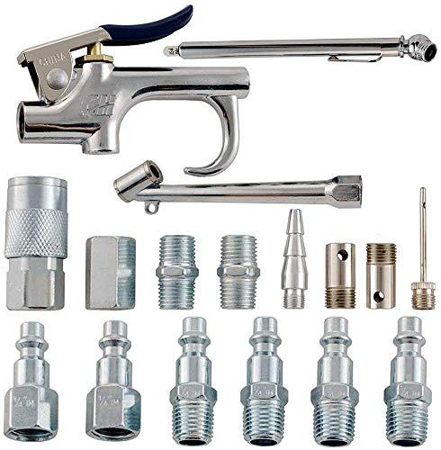 KingBra - Compresor de aire tipo industrial 17 piezas, kit de inflación, con pistola de soplado, mandriles de aire, agujas de inflación D-17
