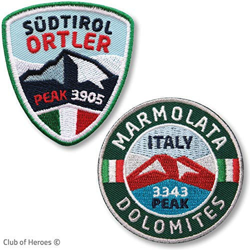2er-Set Ortler Südtirol + Marmolata Dolomiten Aufnäher gestickt / Italien Vinschgau Trentino Bergtour Bergsteigen Wandern Klettern / Aufnäher Aufbügler Flicken Patch für Kleidung Rucksack Wanderführer
