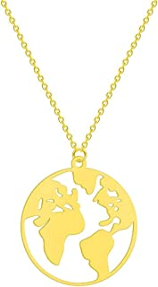 AILUOR World Map Necklace Geometric Earth Globe Map Pendant Mother Earth Necklace Long Distance Travel Graduation Gift