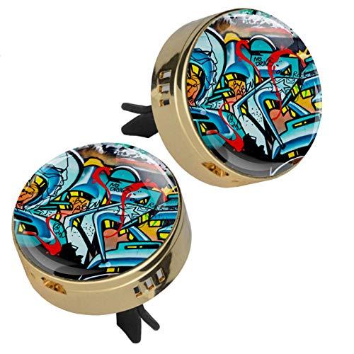 2 camafeo The Doodle para pintura artística de coche, aromaterapia, difusor de aceites esenciales, cierre magnético, con clip de ventilación, 4 almohadillas de repuesto (doradas)