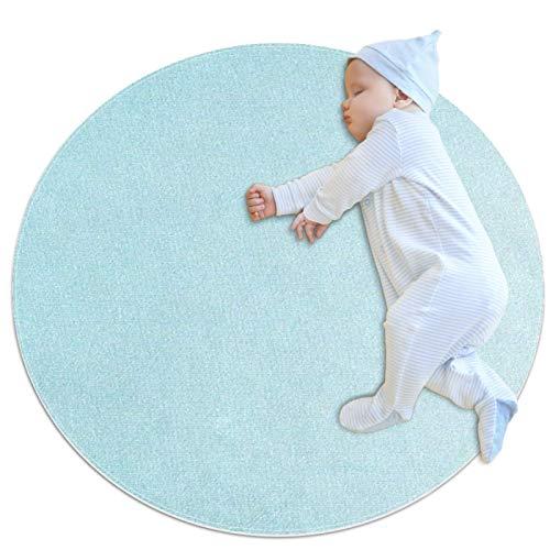 huhulala Alfombra de baño, alfombra redonda, supersuave, esponjosa, decoración del hogar, alfombra para niños, decoración del cuarto de bebé, color azul degradado
