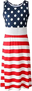 Luckygal Girls 4th July Maxi Dresses Kids American Flag Long Dress Party Clothes