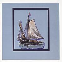 BLNヴィンテージNautical Illustrationsコレクション–ヨット帆with raised Sailing On Blue Watersのフレーム付きブルー–グリーティングカード Set of 6 Greeting Cards