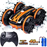 RC Cars Toy - Amphibious Remote Control Car & Boat for Kids Boy 5-12 Year - 2 in 1 4WD RC Truck Stunt Car with 2 Battery for 40 Min Play, 2.4GHz Waterproof 360 °Rolling Double-Sided for Birthday Gifts