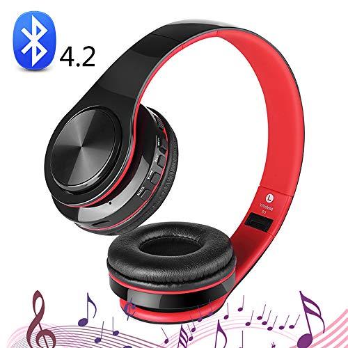 SHENGY draadloze inklapbare hoofdtelefoon, bluetooth-headset, support microfoon, AUX-audio, TF-kaart, 10 uur speeltijd, voor alle smartphones/TV/PC/MP3, rood
