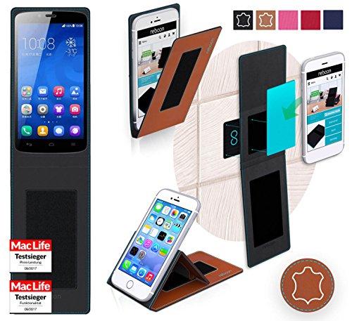 reboon Hülle für Huawei Honor 3C Play Edition Tasche Cover Case Bumper | Braun Leder | Testsieger
