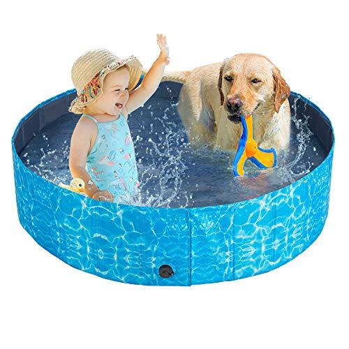 Piscina per Cani,80cm PVC Piscina Pieghevole per Cani Grandi e Piccoli, Piscina Rigida per Bambini, Piscina con Palline per Bambini, 100% Sicuro & Non Tossico, Oceano