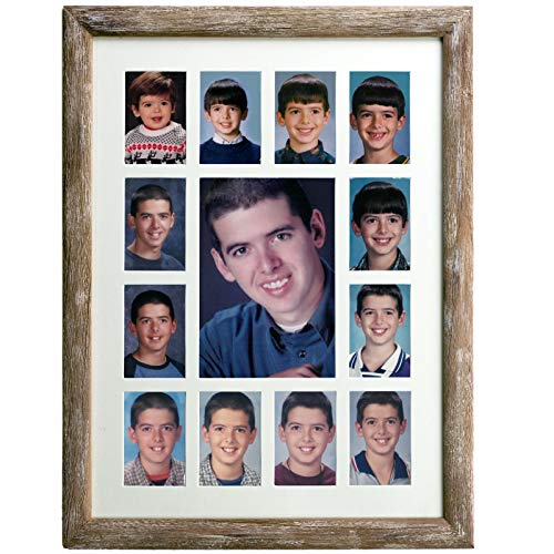 """Excello Global Products Collage Picture Frame - School Years Photo Frame with 13 Openings. Photo Holder Displays Horizontal or Verticle. 12""""x16"""" Inches (Brown)"""