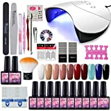 Saint-Acior Nail Art 10pc Kit Vernis Semi Permanent Nail Gel 36w LED/UV Lampe USB Machine Sécher Vernis A Ongle Soak Off UV Gel Base Coat Strass Décor Nail Limes Outils Manucure# G10D
