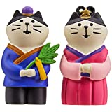 デコレ(Decole) 置物 織姫猫と彦星猫 織姫: 2.5×2.3×H4.7cm コンコンブル concombre ZSV-17027