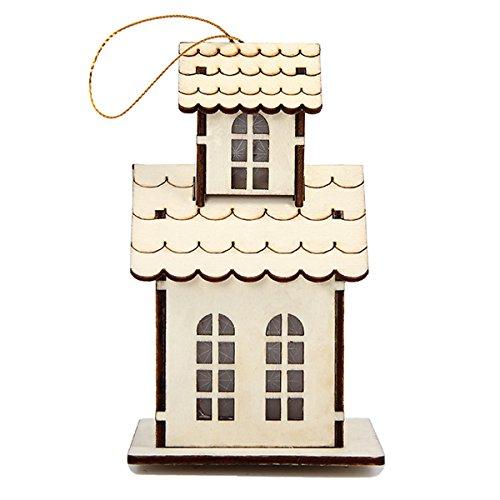 Kitchnexus Cabane avec LED en Bois Villa Style pour la Fête Décorée L'arbre de Noël Hôtel Supermarché Maison