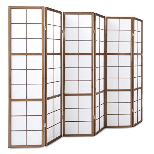 Homestyle4u 274, Paravent Raumteiler 6 teilig, Holz Braun Tabak, Reispapier Weiß