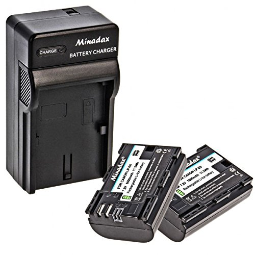2x Minadax Li-Ion Akku Ersatz für LP-E6 LPE6 kompatibel mit Canon EOS 80D 70D 60D 60Da 7D 7D Mark II 6D 5D Mark IV, 5D Mark III, 5D Mark II + Minadax® Ladegerät inkl. Auto Ladekabel, Ladeschale austauschbar