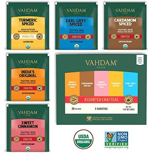 VAHDAM, surtido de té Chai 5 tés, 4 bolsitas de té de pirámide cada una (20 bolsitas de té) | Original Masala Chai de la India, dulce canela Chai, cardamomo Chai, Earl Grey Chai de India