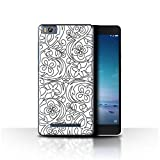 Phone Case for Xiaomi Mi 4C Black Fashion Flower Sketch