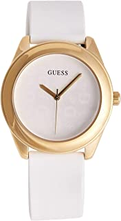 GUESS Factory Womens White and Gold-Tone Silicone Logo Watch, ...