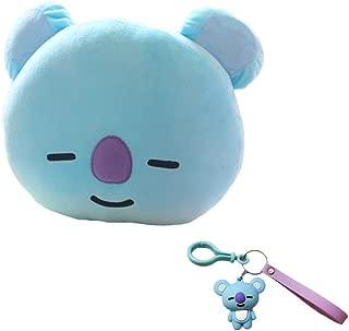 DIY BTS Bangtan Boys Plush Throw Pillows Cushion Doll(30x40cm with Cute Cartoon Key Chain (Blue-Koya)
