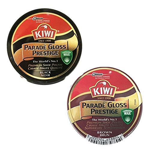 [KIWI] 油性靴クリーム パレードグロス プレステージ 2個セット黒と茶