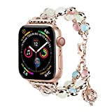 TILON for Apple Watch Band 42mm 44mm Series 4/3/2/1, Adjustable Wristband Handmade Night Luminous Pearl iWatch Bracelet with Essential Oil/Perfume Storage Pendant for Women/Girls(Rose Gold)