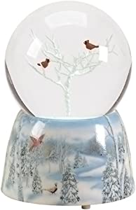 Frosted White Winter Cardinals Musical 5 inch Resin Decorative Snow Globe