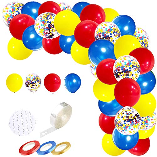 Blue Yellow Red Party Balloons Garland Kit- 109 Pack 12Inch Latex Balloon Arch Red Yellow Blue Confetti Balloon 100 Dot Glue 16ft Arch Strip 3 Ribbons for Friend Giving Christmas Party Decoration