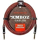 Red Dragon Câble Jack Guitare 6M – Cordon pour Guitare Electrique et Basse – Câble Jack à Tête Droite 4,5m jack 6.35 Plaqués Or male male