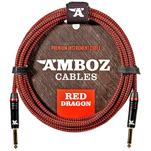 Red Dragon Instrument Cable - Noiseless for Electric Guitar and Bass - 15Foot TS 1/4Inch Straight PL