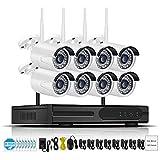 2/4/6 / 8CH 2MP Audio Video Vigilancia Inalámbrico NVR Kit Sistema de cámara de Seguridad CCTV Set H.265 WiFi HD Cámara IP para Exteriores IP66 (8 telecamere,con Disco rigido 2T)