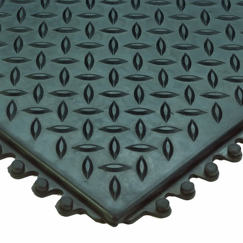 Wearwell Natural Rubber 470  Diamond-Plate Anti-Fatigue Modular Mat, for Dry Areas, 3' Width x 3' Length x 1/2