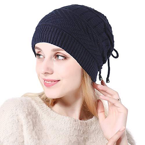 Herbst Und Winter Mehrzweck Plissee Wollmütze Outdoor Plus Samt Strickmütze 27,5 * 23,5 cm Navy