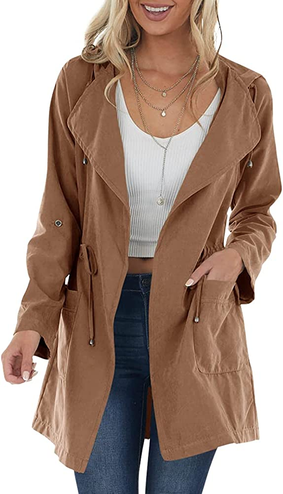 Imily Bela Womens Casual Long Hoodie Jackets Drawstring Wasit Faux Suede Draped Trench Coats with Pockets