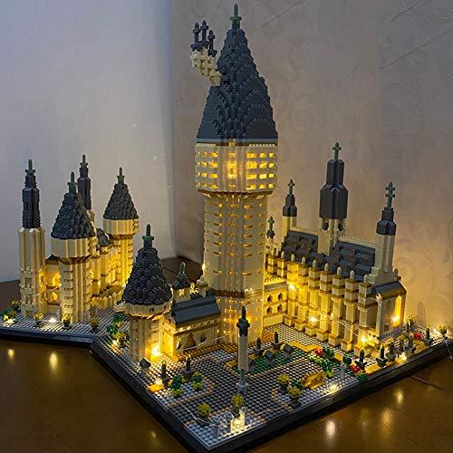 ESGT Weltberühmte Architektur Hogwarts Castle DIY Diamant Gebäude Cartoon Blöcke Backstein Kinder Spielzeug Geschenk 7750pcs Mit Licht