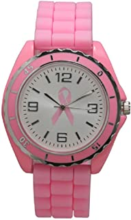 Silicone Breast Cancer Watch Unisex Moving Bezel Wrist Watch Medium Size Dial