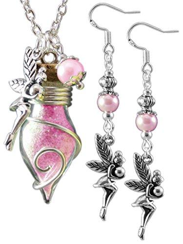 Katharina Fairytale® Juego de collar y pendientes, hadas color rosa, para mujeres.
