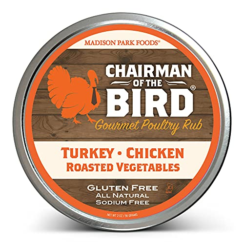 Chairman of the Bird Gourmet Poultry Rub and Classic Herb Seasoning Spice Blend - Smoking, Brining, Roasting, Grilling - All Natural, Gluten Free, No Salt, No MSG, Madison Park Foods, 2 Ounce Tin