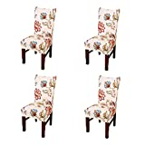 Jiuhong Stretch Removable Washable Short Dining Chair Protector Cover Slipcover, Style 10, 4 Pack