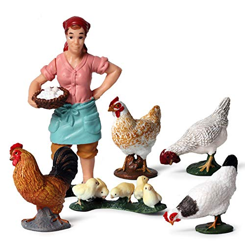 Animal Keeper with Farm Animals Figurines Simulated Farm Realistic Plastic Farmer Feeder Animals Figurines for Collection Educational Props (Feeder and Chicken  Set of 6)