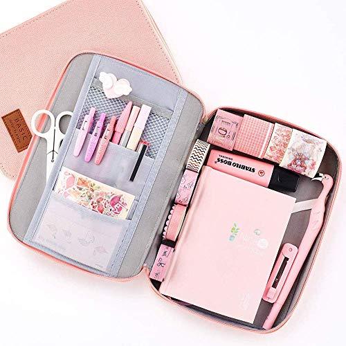 Shager - 1 astuccio per matite da bambina, formato a6, grande, colore: blu ciano 6.5 * 9 * 1.2 inches Pink