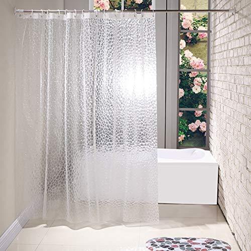 BSTT Duschvorhänge Anti schimmel Wasserdicht PEVA 3D Wasserwürfel Dekorative Badvorhang Badezimmer Duschvorhang Für Haus & Hotel Weiß 180 x 200 cm