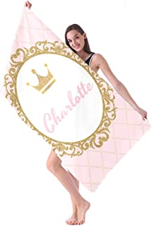 Royal Pink Gold Princess Personalized Beach Towels with Name for Kids Girls Boys Adults Women Men 60X30 Inches,Towel for T...