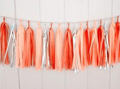 12x Orange Apricot Silber Seidenpapier Quasten für Party Hochzeit Gold Girlande Wimpelkette Pom...