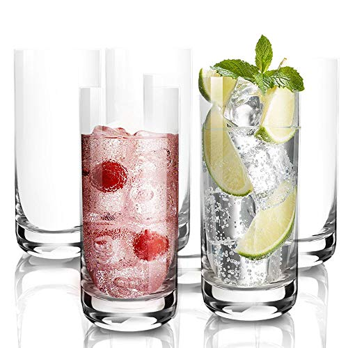 DESIGN•MASTER -Premium Lead Free Highball Glasses, Heavy Base Tall Bar Glass, Drinking Glasses for Water, Juice, Beer, and Cocktail, 13.5Oz, Set of 6 (Clear)