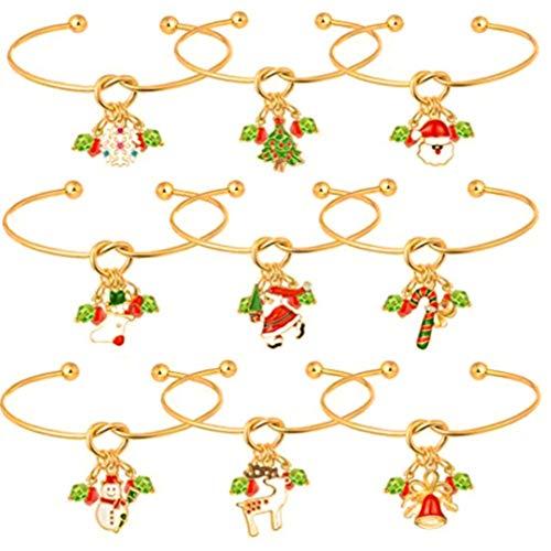 FENICAL armband weihnachten anhänger armband offenen armreif manschette armband für frauen dame kinder mädchen 9 stücke